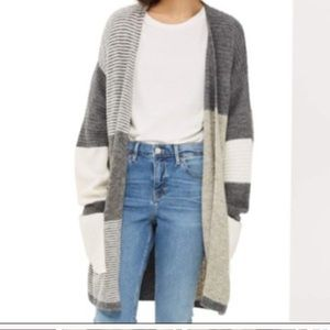 Topshop Patchwork Marled Colorblock Open Cardigan